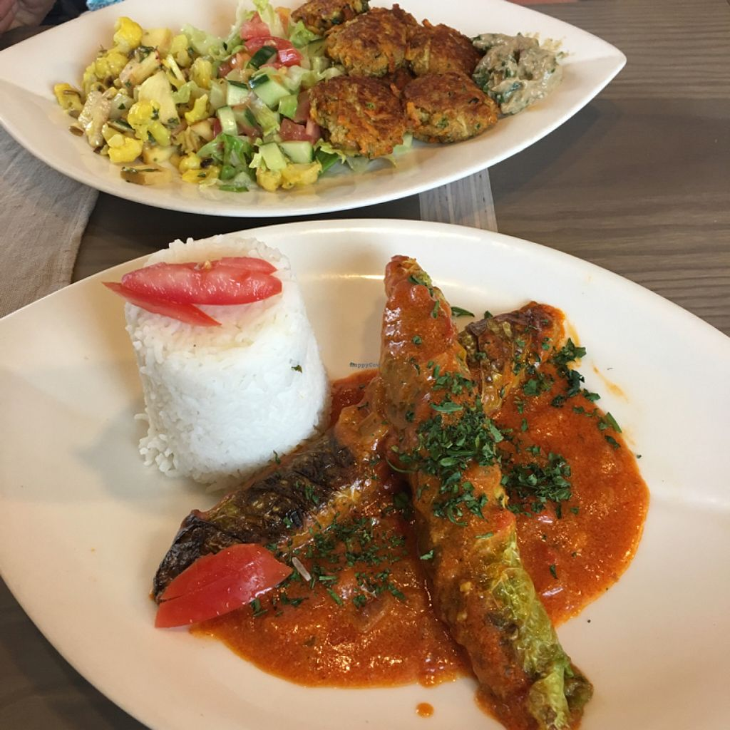 """Photo of CLOSED: Selly's Vegan Bar  by <a href=""""/members/profile/Ghiribizzo"""">Ghiribizzo</a> <br/>Couscous stuffed vine leaves; falafel mezze <br/> July 7, 2016  - <a href='/contact/abuse/image/47834/158295'>Report</a>"""