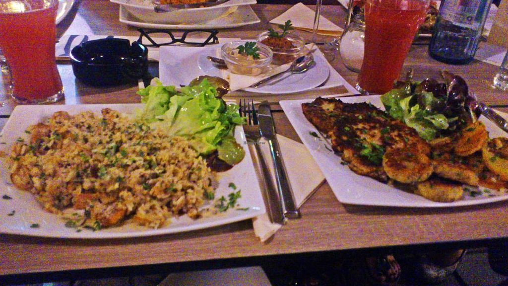 """Photo of CLOSED: Selly's Vegan Bar  by <a href=""""/members/profile/olgucz"""">olgucz</a> <br/>LEFT: chicken fried rice RIGHT: 3 different veggie patties with sauce <br/> August 12, 2014  - <a href='/contact/abuse/image/47834/76749'>Report</a>"""
