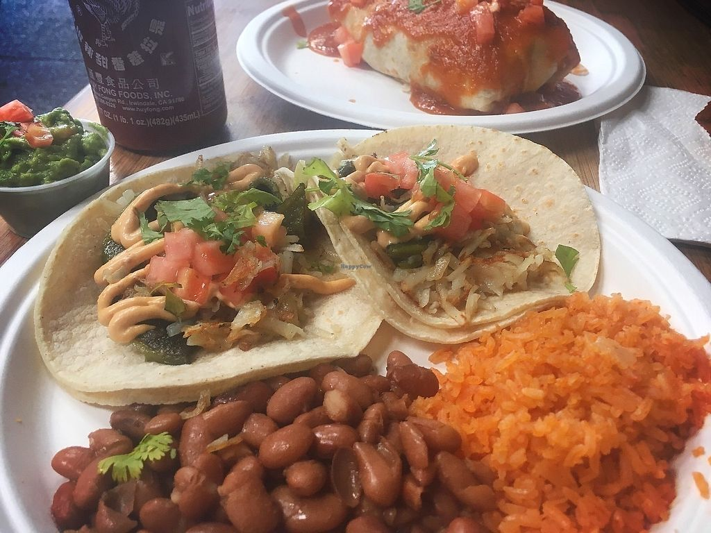 "Photo of CLOSED: Taqueria Cruz  by <a href=""/members/profile/VeganBattleBot"">VeganBattleBot</a> <br/>Poblano veggie taco combo <br/> June 16, 2017  - <a href='/contact/abuse/image/47842/269845'>Report</a>"