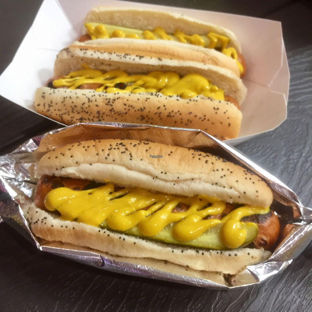 """Photo of Valpo Viennas  by <a href=""""/members/profile/happycowgirl"""">happycowgirl</a> <br/>veggie dogs with mustard, pickle and sport peppers <br/> January 15, 2017  - <a href='/contact/abuse/image/47867/212053'>Report</a>"""