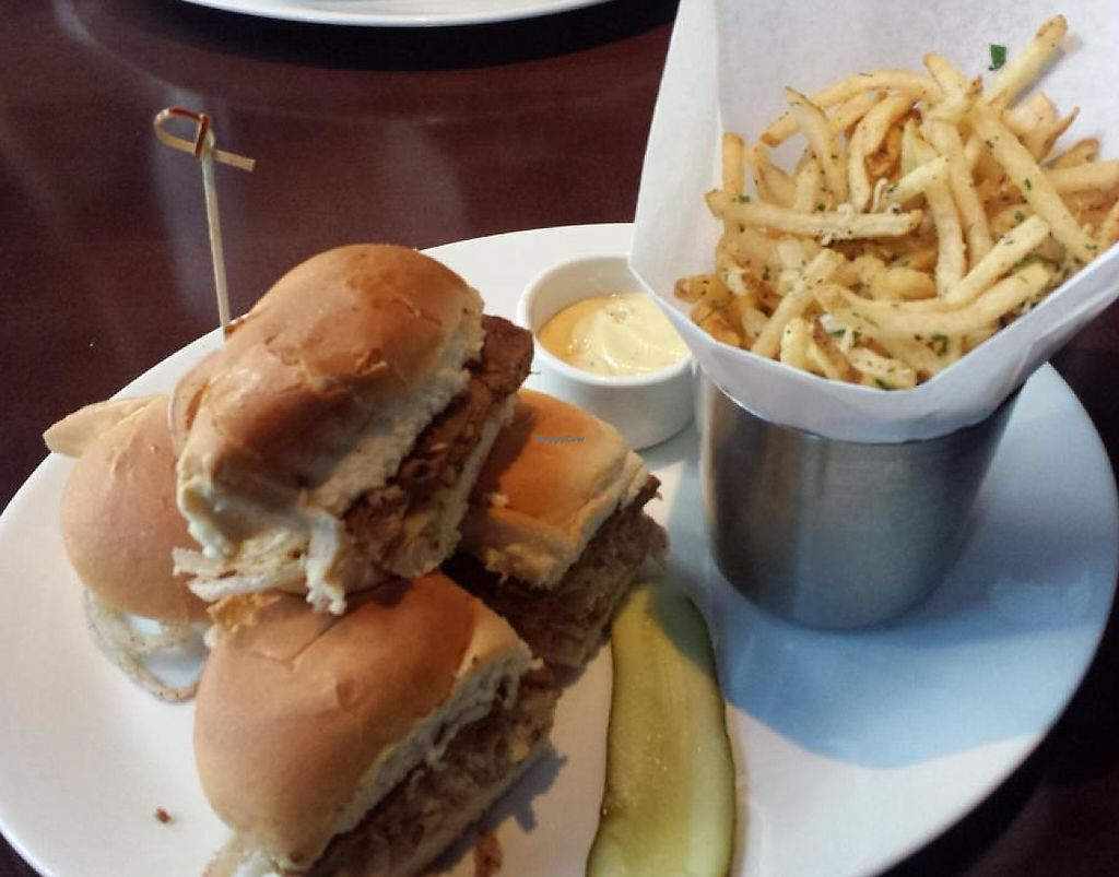 """Photo of Yard House  by <a href=""""/members/profile/nstrawbr"""">nstrawbr</a> <br/>Gardein Sliders with Fries <br/> June 5, 2014  - <a href='/contact/abuse/image/47870/196717'>Report</a>"""
