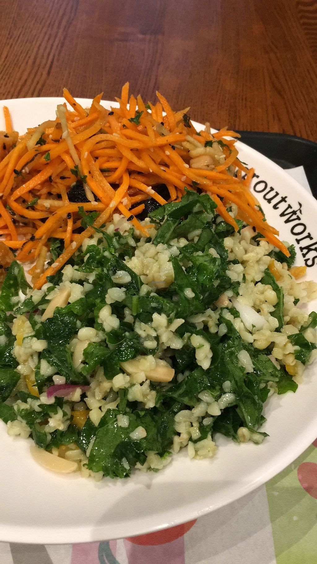 "Photo of Sproutworks - XinTianDi  by <a href=""/members/profile/SP"">SP</a> <br/>kale-bulgur & carrot-chick peas-raisins <br/> December 12, 2017  - <a href='/contact/abuse/image/47880/334831'>Report</a>"