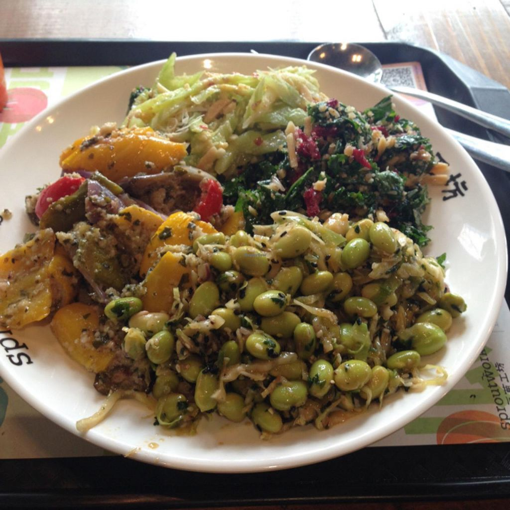"Photo of Sproutworks - XinTianDi  by <a href=""/members/profile/AndyT"">AndyT</a> <br/>4 salads combo (with soup) RMB 65 <br/> February 3, 2015  - <a href='/contact/abuse/image/47880/92179'>Report</a>"