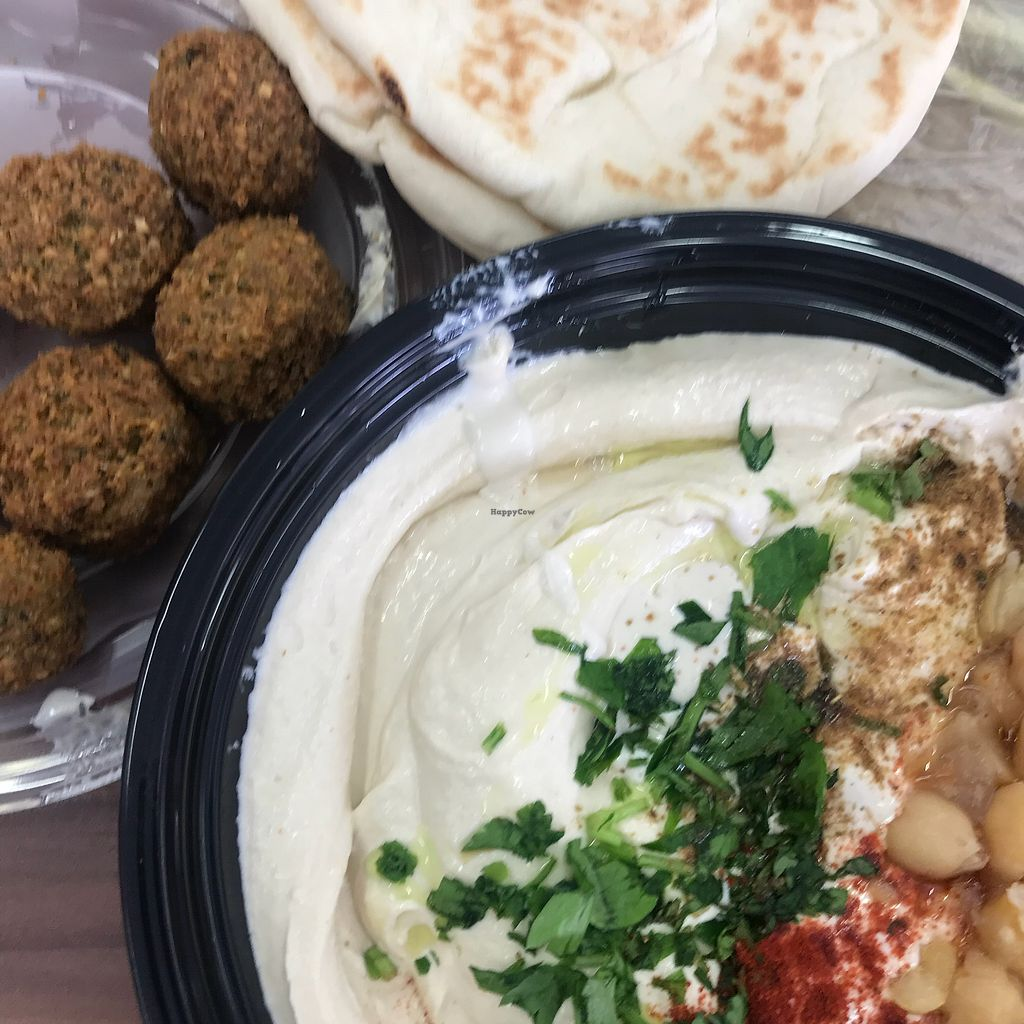 """Photo of Abu Hassan - Jaffa  by <a href=""""/members/profile/The%20London%20Vegan"""">The London Vegan</a> <br/>Felafel, pita and hummus  <br/> April 3, 2018  - <a href='/contact/abuse/image/47887/380153'>Report</a>"""
