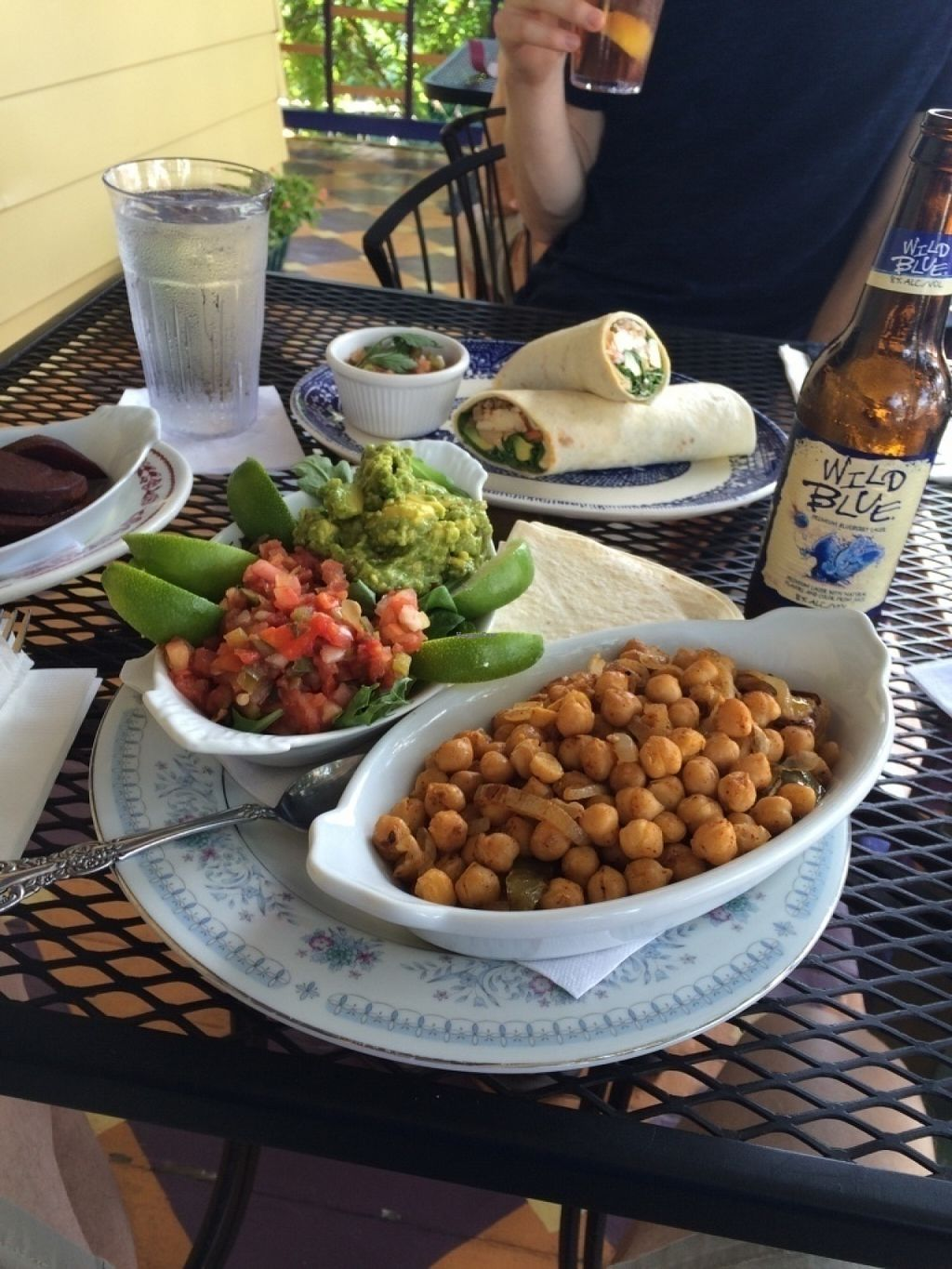 """Photo of Bellefonte Cafe  by <a href=""""/members/profile/VeganVegabond"""">VeganVegabond</a> <br/>Chickpea Fajitas with fresh salsa, guacamole, limes, and flour tortilla...Banh mì (with spicy tofu) wrap with pickled veggies (included) <br/> July 21, 2016  - <a href='/contact/abuse/image/47895/161470'>Report</a>"""