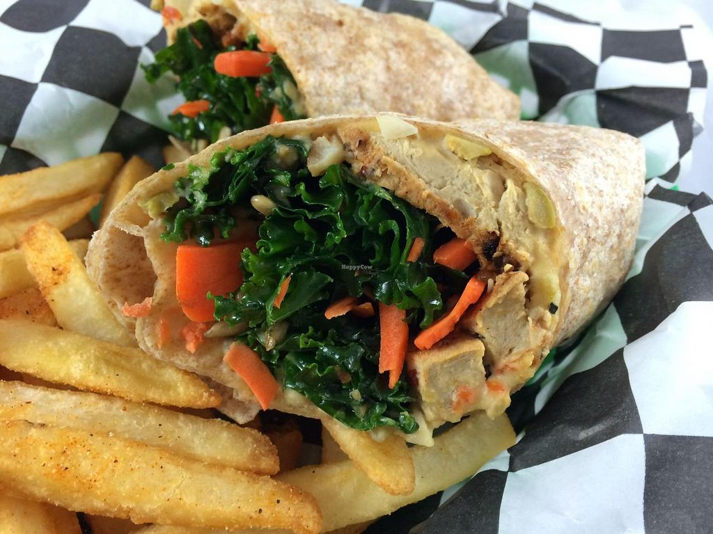 Photo of Earth Burger  by GreenVegetarian <br/>Chik-N Wrap <br/> September 8, 2014  - <a href='/contact/abuse/image/47902/79414'>Report</a>