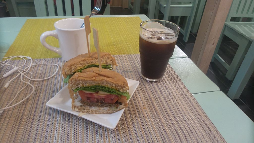"""Photo of Jack and the Beanstalk  by <a href=""""/members/profile/melephant"""">melephant</a> <br/>veggie burger and iced coffee <br/> August 12, 2015  - <a href='/contact/abuse/image/47910/113328'>Report</a>"""