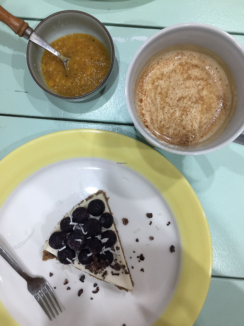 """Photo of Jack and the Beanstalk  by <a href=""""/members/profile/LindseyOtterbourg"""">LindseyOtterbourg</a> <br/>Coconut milk latte, cake and jam <br/> December 10, 2017  - <a href='/contact/abuse/image/47910/334194'>Report</a>"""