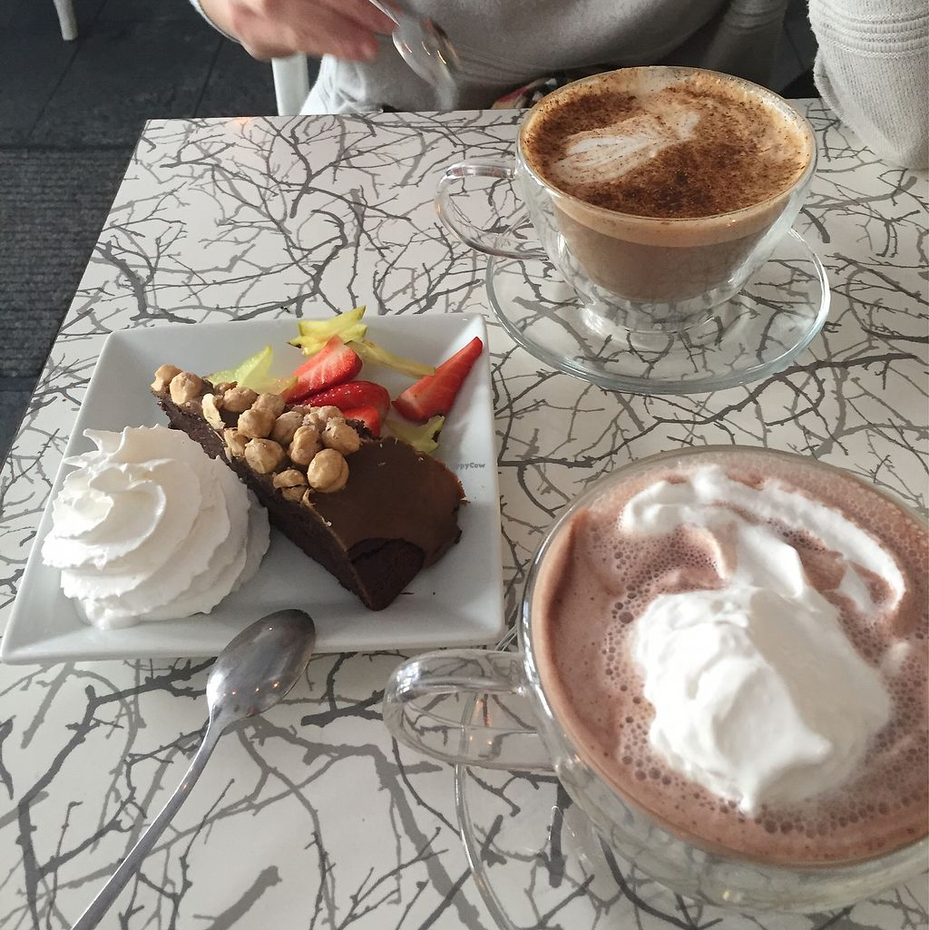 """Photo of Nois Cafe and Deli  by <a href=""""/members/profile/agatonluna"""">agatonluna</a> <br/>Vegan hot chocolate and vegan cake <br/> March 17, 2018  - <a href='/contact/abuse/image/47918/371947'>Report</a>"""