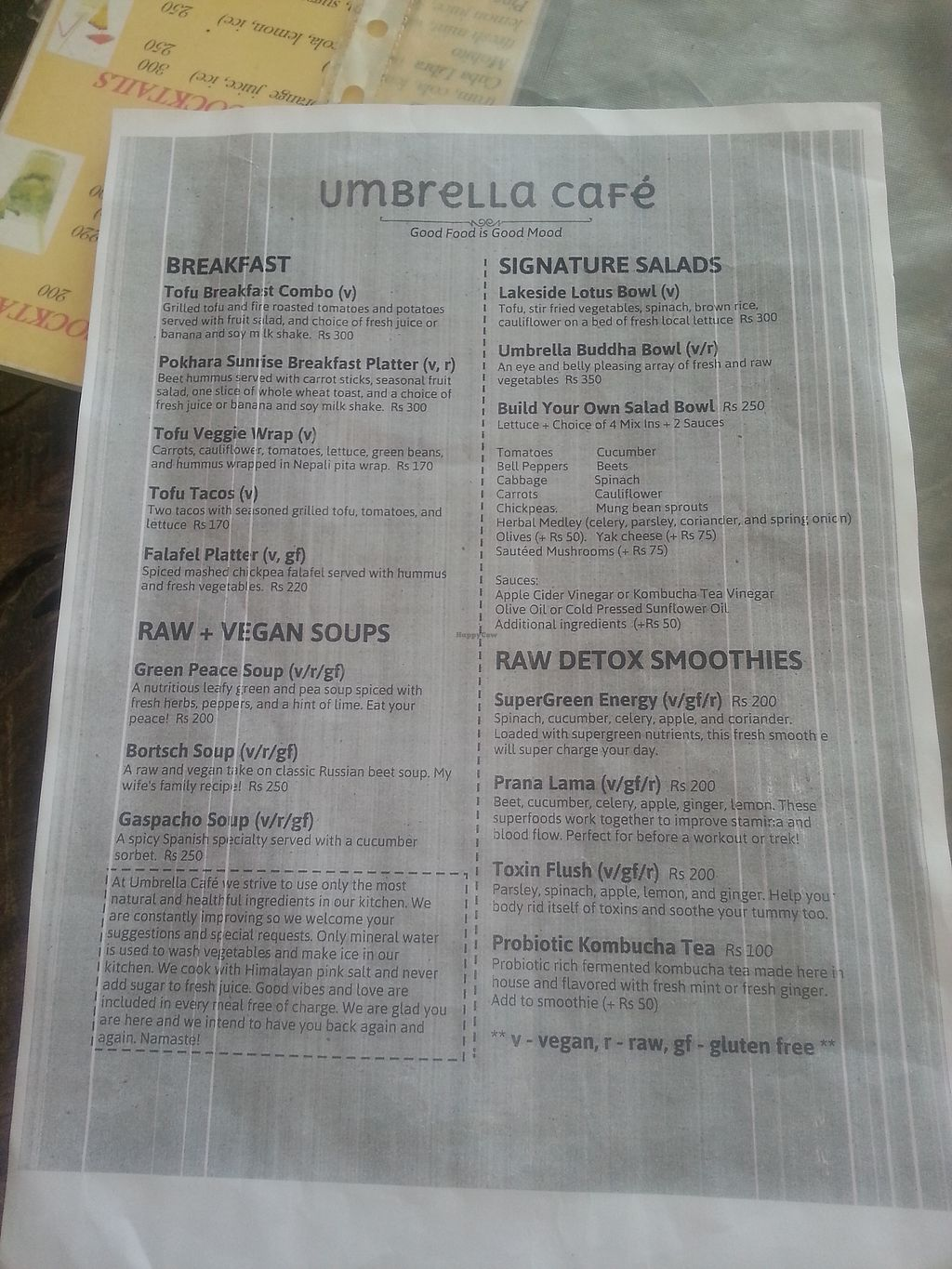 "Photo of Umbrella Cafe  by <a href=""/members/profile/shelob"">shelob</a> <br/>Vegan menu <br/> March 8, 2018  - <a href='/contact/abuse/image/47919/368157'>Report</a>"