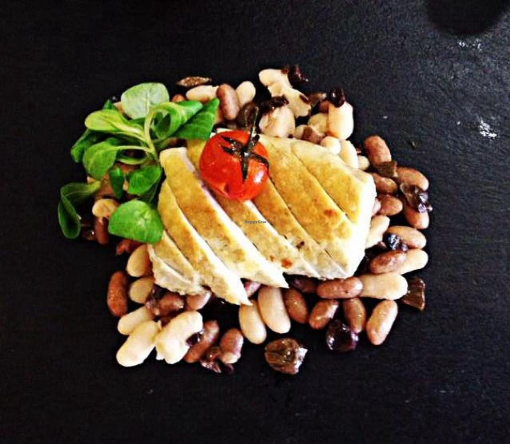 """Photo of Gastronomia Le Quattro Stagioni  by <a href=""""/members/profile/LauraRita"""">LauraRita</a> <br/>roasted tofu with taggiasche olives, beans and cherry tomatoes  <br/> June 26, 2014  - <a href='/contact/abuse/image/47957/72818'>Report</a>"""