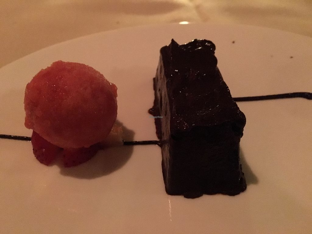 """Photo of Cedar Restaurant  by <a href=""""/members/profile/cookiem"""">cookiem</a> <br/>Chocolate mousse with strawberry sorbet- vegan third course <br/> April 2, 2016  - <a href='/contact/abuse/image/47991/142389'>Report</a>"""
