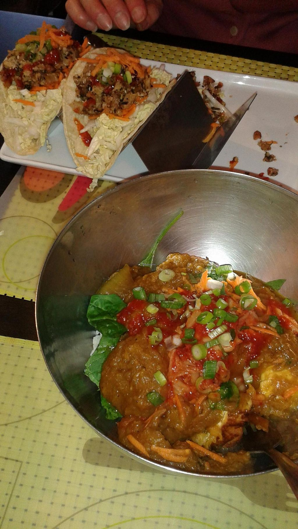 """Photo of Seoul Food DC  by <a href=""""/members/profile/jlaurenson"""">jlaurenson</a> <br/>Seasonal butternut squash curry and shitake tofu tacos <br/> October 11, 2014  - <a href='/contact/abuse/image/47992/82659'>Report</a>"""