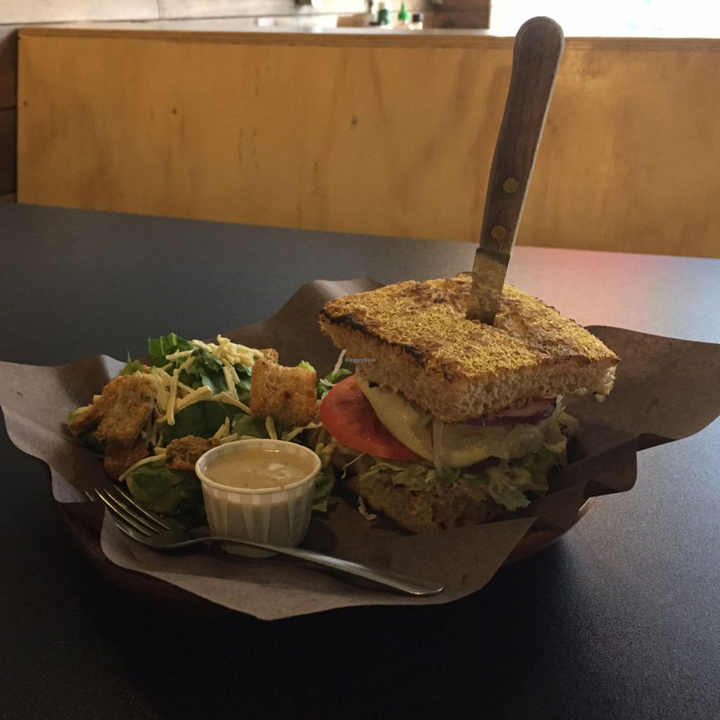 "Photo of Boon Burger Cafe  by <a href=""/members/profile/AmandaVollmershausen"">AmandaVollmershausen</a> <br/>The Backyard BBQ burger and Caesar salad - you can hardly see the patty buried in there! <br/> July 26, 2016  - <a href='/contact/abuse/image/48006/162503'>Report</a>"