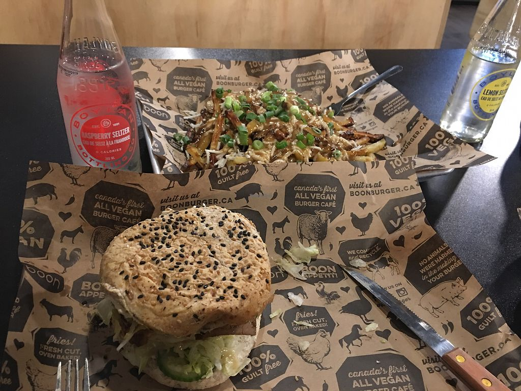 "Photo of Boon Burger Cafe  by <a href=""/members/profile/marieroberts"">marieroberts</a> <br/>Poutine and Greek burger  <br/> April 8, 2018  - <a href='/contact/abuse/image/48006/382481'>Report</a>"