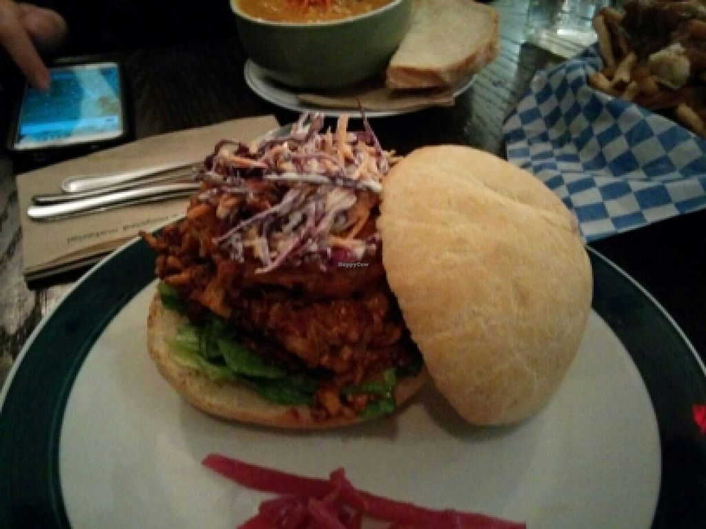 "Photo of Bloomer's  by <a href=""/members/profile/walkingvegan"">walkingvegan</a> <br/>Bbq jack fruit burger <br/> January 30, 2016  - <a href='/contact/abuse/image/48010/134226'>Report</a>"