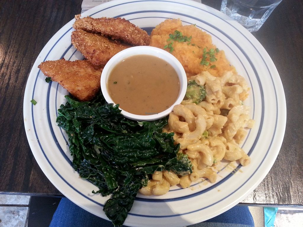 "Photo of Bloomer's  by <a href=""/members/profile/Vegan%20GiGi"">Vegan GiGi</a> <br/>Veggielicious meal! Deep fried tempeh wings, sweet potato mash, garlic braised kale, gravy, and mac n cheese. 
