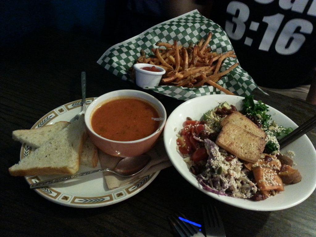 "Photo of Bloomer's  by <a href=""/members/profile/Vegan%20GiGi"">Vegan GiGi</a> <br/>Soup of the day (spicy tomato I believe), French fries, and the 'other' bowl. YUM <br/> October 9, 2016  - <a href='/contact/abuse/image/48010/180822'>Report</a>"