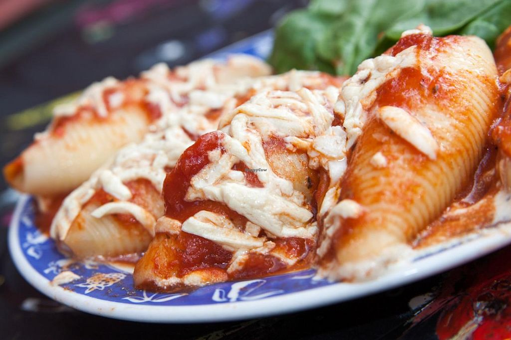 """Photo of CLOSED: Chickpea  by <a href=""""/members/profile/ChickpeaWorcester"""">ChickpeaWorcester</a> <br/>Stuffed Shells - Shells stuffed with tofu ricotta and topped with tomato sauce  <br/> November 24, 2014  - <a href='/contact/abuse/image/48035/86388'>Report</a>"""