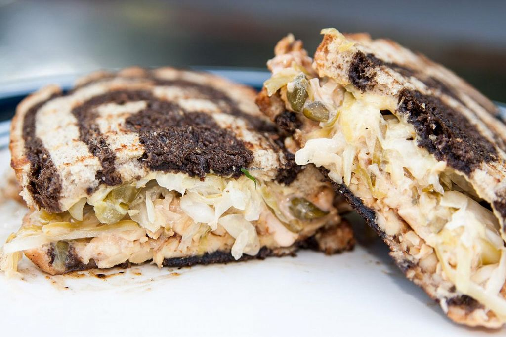 """Photo of CLOSED: Chickpea  by <a href=""""/members/profile/ChickpeaWorcester"""">ChickpeaWorcester</a> <br/>Reuben made with sauerkraut, Russian dressing, mustard, and marinated tempeh on rye <br/> November 24, 2014  - <a href='/contact/abuse/image/48035/86390'>Report</a>"""