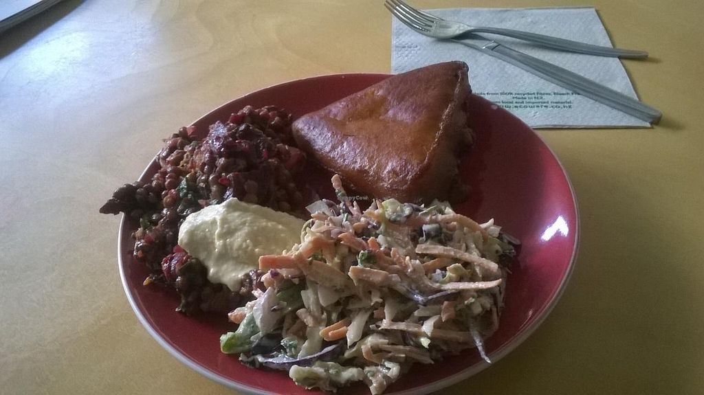 """Photo of Wild Earth Organics Cafe and Store  by <a href=""""/members/profile/Yolanda"""">Yolanda</a> <br/>Samosa and salad <br/> March 20, 2015  - <a href='/contact/abuse/image/48059/96312'>Report</a>"""