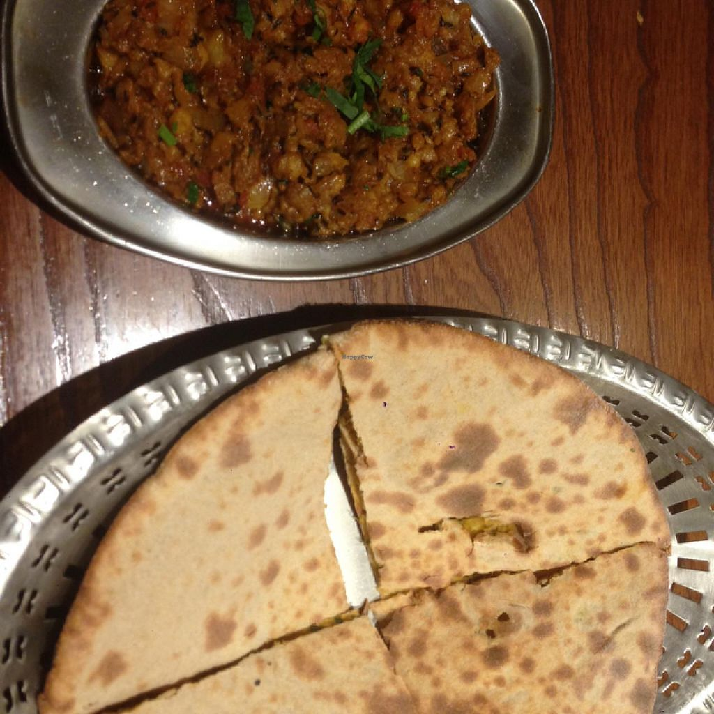 """Photo of Veg Kitchen  by <a href=""""/members/profile/Sarahmrussell"""">Sarahmrussell</a> <br/>Baigan bharta, Punjabi aloo paratha <br/> June 21, 2015  - <a href='/contact/abuse/image/48092/106823'>Report</a>"""