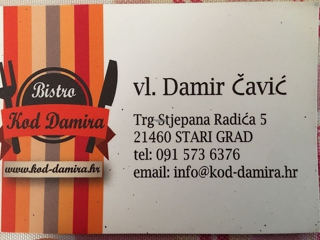 """Photo of Kod Damira  by <a href=""""/members/profile/Lukas_cro"""">Lukas_cro</a> <br/>Business card of the Bistro Kod Damira <br/> September 15, 2016  - <a href='/contact/abuse/image/48141/187344'>Report</a>"""