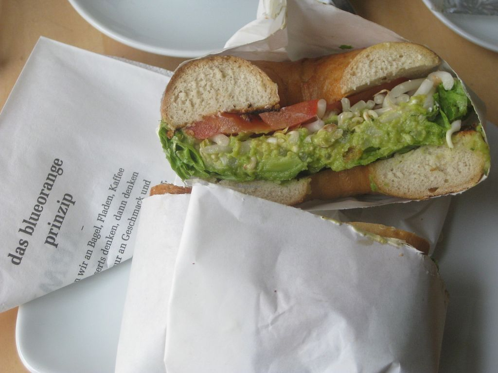 """Photo of Blueorange Coffee and Bagel - Margaretenstrasse  by <a href=""""/members/profile/jennyc32"""">jennyc32</a> <br/>Vegan avocado bagel <br/> November 3, 2015  - <a href='/contact/abuse/image/48152/123697'>Report</a>"""