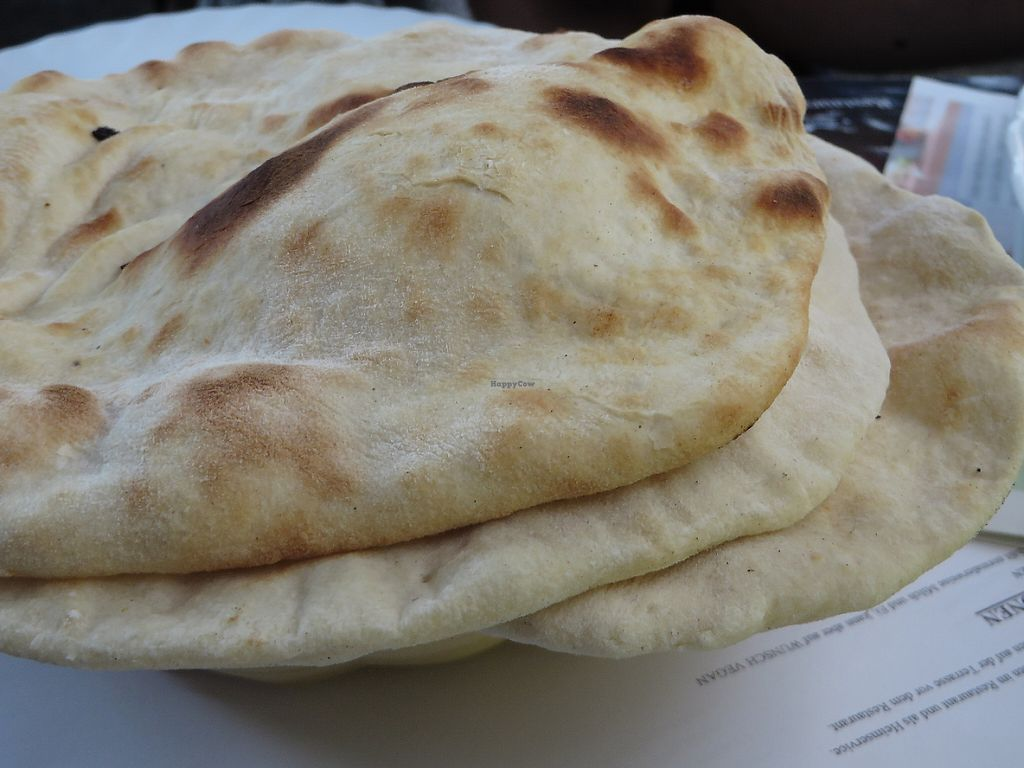 """Photo of Pizzeria-Restaurant Punjab  by <a href=""""/members/profile/VegiAnna"""">VegiAnna</a> <br/>naan bread (vegan) <br/> May 30, 2017  - <a href='/contact/abuse/image/48171/264304'>Report</a>"""