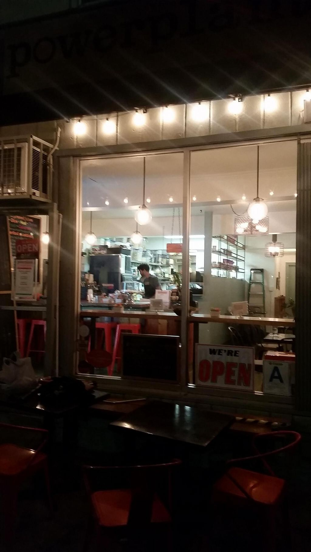 """Photo of Powerplant Superfood Cafe  by <a href=""""/members/profile/kenvegan"""">kenvegan</a> <br/>Powerplant Superfood Cafe at night <br/> November 24, 2014  - <a href='/contact/abuse/image/48173/86396'>Report</a>"""
