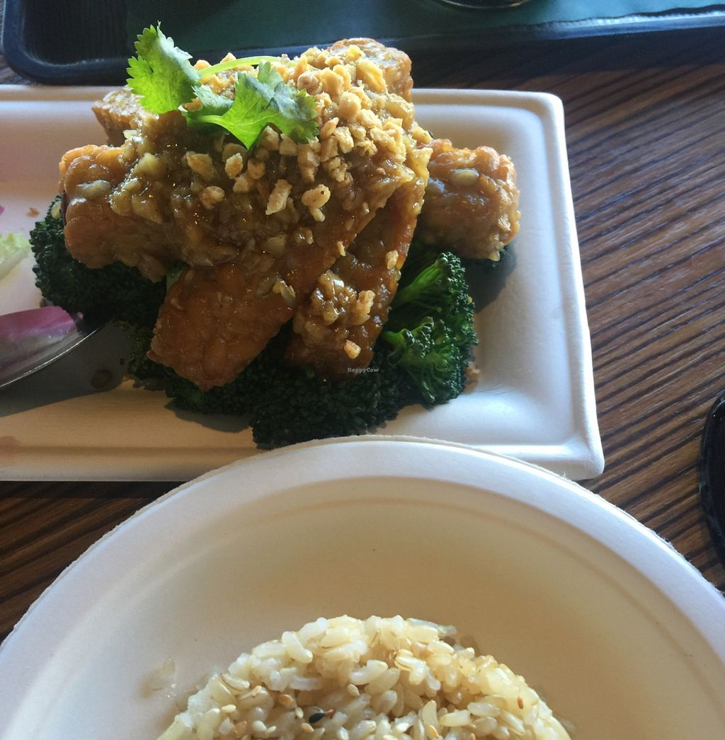 """Photo of CLOSED: Happy Elephant Vegan  by <a href=""""/members/profile/ReneeNButtercup"""">ReneeNButtercup</a> <br/>Amazing Tempeh and brown rice <br/> March 7, 2016  - <a href='/contact/abuse/image/48191/139108'>Report</a>"""