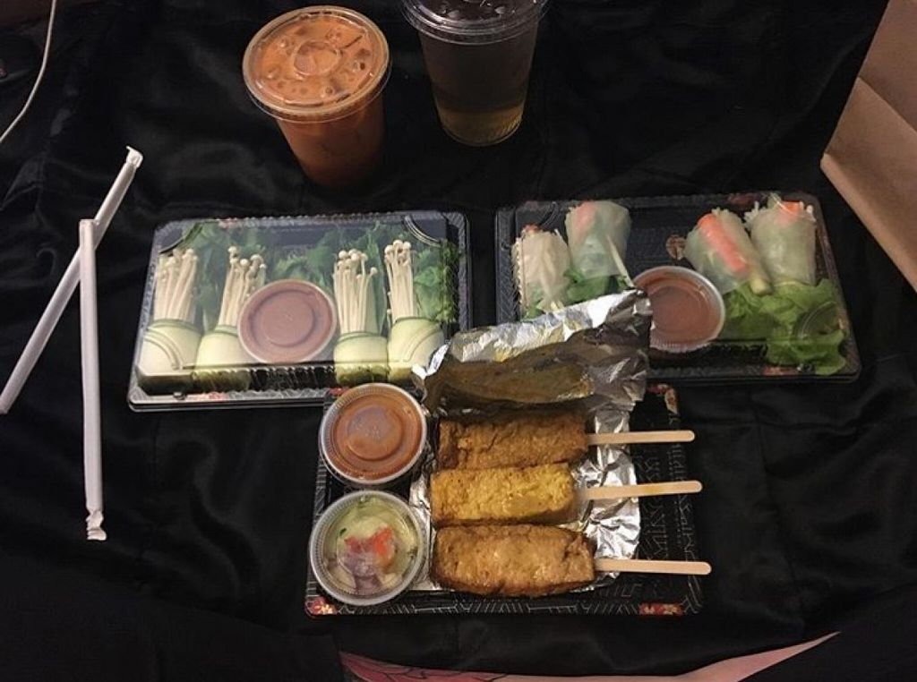 """Photo of CLOSED: Happy Elephant Vegan  by <a href=""""/members/profile/Bomba1388"""">Bomba1388</a> <br/>in this photo we have the sate, summer rolls, and the green energy roll i believe. all super tasty <br/> April 8, 2016  - <a href='/contact/abuse/image/48191/143405'>Report</a>"""