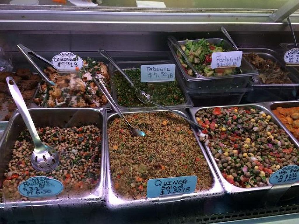 """Photo of Mediterranean Market and Bakery  by <a href=""""/members/profile/kmilitello"""">kmilitello</a> <br/>Some of the vegan salads in the case <br/> June 26, 2014  - <a href='/contact/abuse/image/48225/72820'>Report</a>"""