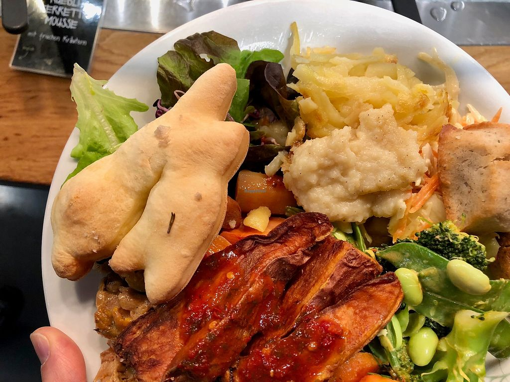 """Photo of Tibits – Gurtengasse  by <a href=""""/members/profile/marky_mark"""">marky_mark</a> <br/>vegan dinner with bunny bread <br/> April 1, 2018  - <a href='/contact/abuse/image/48260/379561'>Report</a>"""