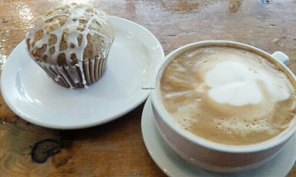 Photo of Nostalgia Cafe  by Navegante <br/>Vegan muffin and soy latte, June 2014 <br/> June 24, 2014  - <a href='/contact/abuse/image/48328/72668'>Report</a>
