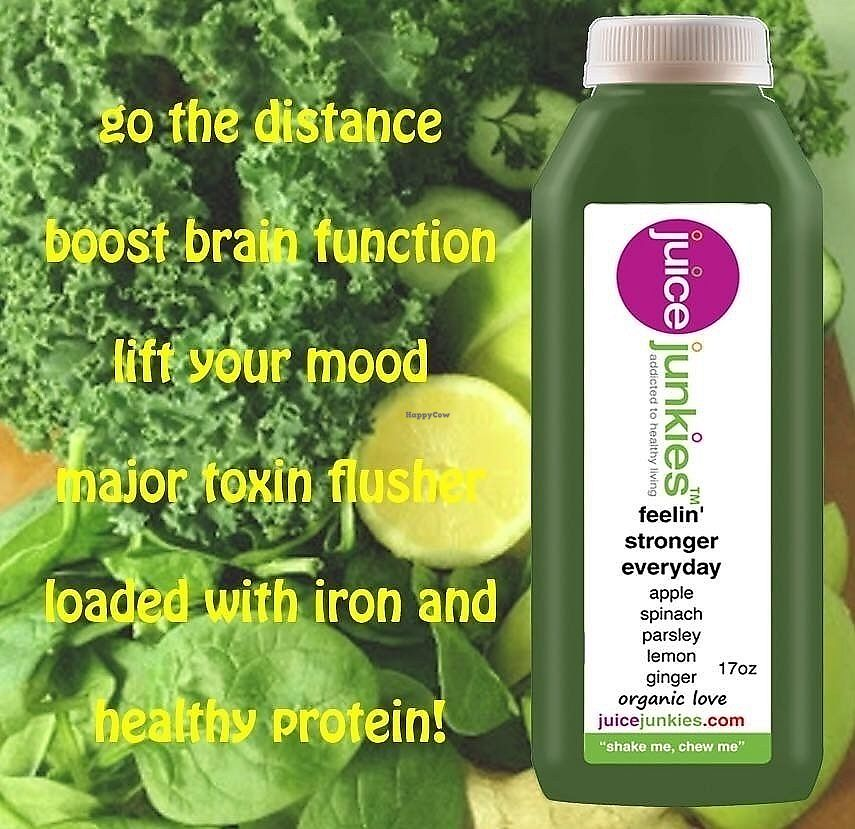 "Photo of Juice Junkies  by <a href=""/members/profile/nstar"">nstar</a> <br/>Organic green juice ... lots of spinach and parsley with apple and lemon.  Great for energy and kidney flushing <br/> September 27, 2017  - <a href='/contact/abuse/image/48398/309174'>Report</a>"