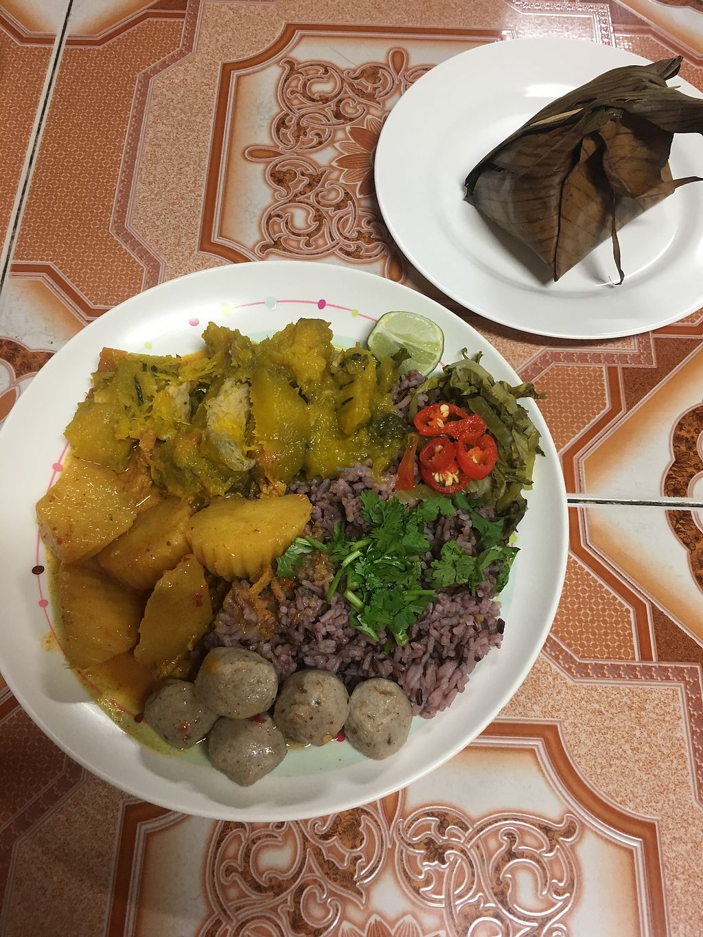 """Photo of Sangwiroon Vegetarian  by <a href=""""/members/profile/SummerPerlow"""">SummerPerlow</a> <br/>rice with 2 entries and mushroom meat balls.  <br/> September 7, 2017  - <a href='/contact/abuse/image/48403/301805'>Report</a>"""