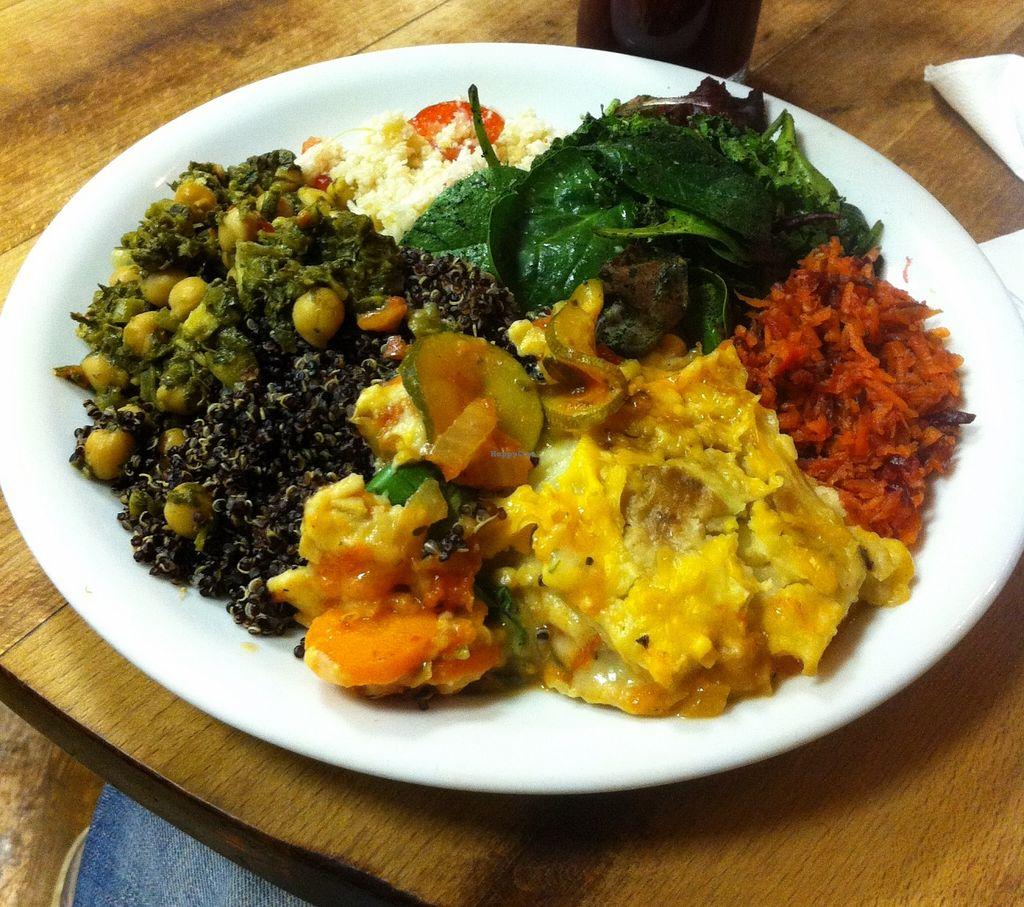 """Photo of CLOSED: The Calabash of Culture  by <a href=""""/members/profile/Dan%20Douglas"""">Dan Douglas</a> <br/>Chickpea and callaloo curry, lasagne <br/> January 28, 2016  - <a href='/contact/abuse/image/48450/133998'>Report</a>"""