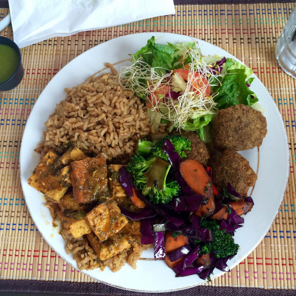 """Photo of Ital in Paradise  by <a href=""""/members/profile/jenbenna"""">jenbenna</a> <br/>stewed tofu, stir fry cabbage carrots and broccoli, lentil balls, side salad & seasoned rice <br/> July 13, 2015  - <a href='/contact/abuse/image/48459/109166'>Report</a>"""