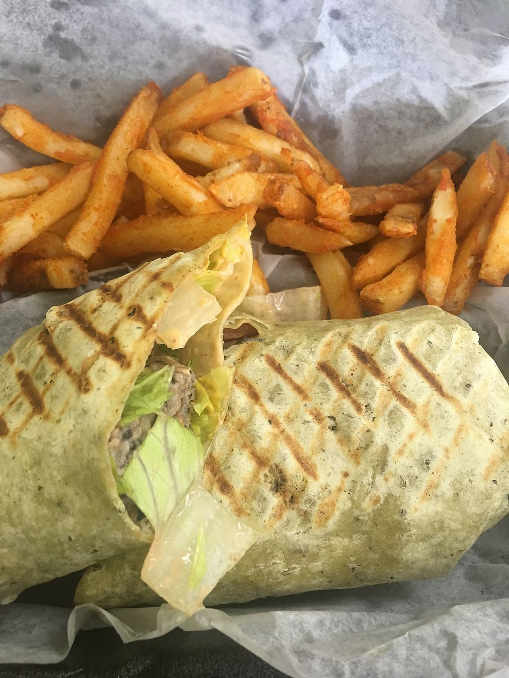 """Photo of Sprout Natural Choice  by <a href=""""/members/profile/keonnalock"""">keonnalock</a> <br/>Black bean wrap,fries (yes I'm cheating lol)  <br/> September 14, 2017  - <a href='/contact/abuse/image/48508/304353'>Report</a>"""