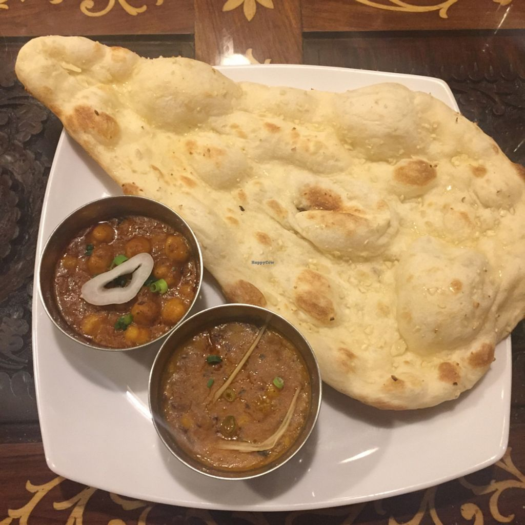 """Photo of Annam Restaurant  by <a href=""""/members/profile/Atymon"""">Atymon</a> <br/>vegan masala curry, dhal and a garlic naan <br/> May 15, 2016  - <a href='/contact/abuse/image/48538/149031'>Report</a>"""