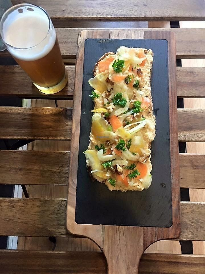 """Photo of The Vegetable Hunter Cafe and Boutique Brewery  by <a href=""""/members/profile/Crave%20and%20Co."""">Crave and Co.</a> <br/>Roasted Root Vegetable Hummus Tartine  <br/> August 12, 2017  - <a href='/contact/abuse/image/48560/291910'>Report</a>"""