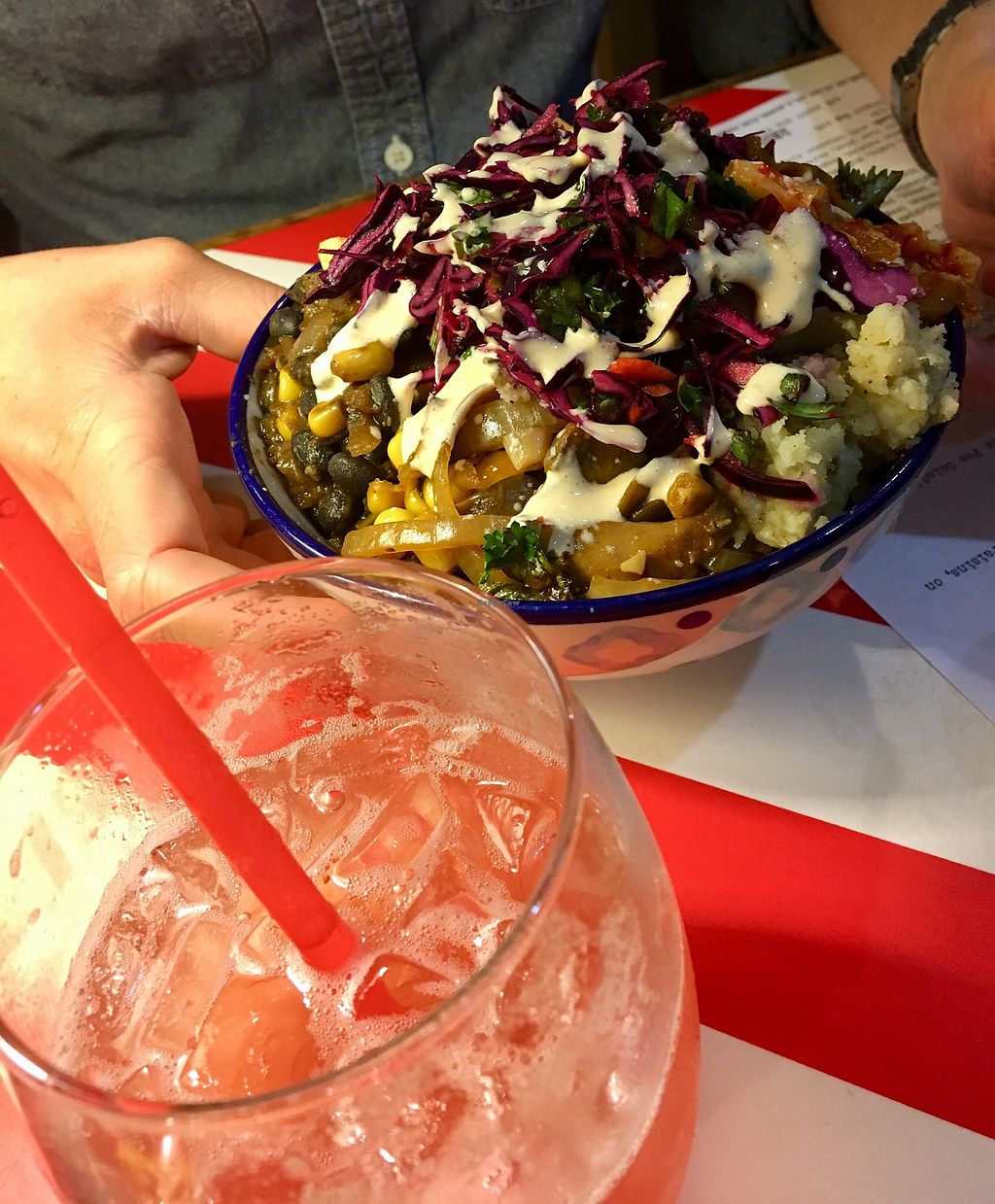 """Photo of The Vegetable Hunter Cafe and Boutique Brewery  by <a href=""""/members/profile/Thepennsyltuckyvegan"""">Thepennsyltuckyvegan</a> <br/>Taco Bowl <br/> February 25, 2018  - <a href='/contact/abuse/image/48560/363485'>Report</a>"""
