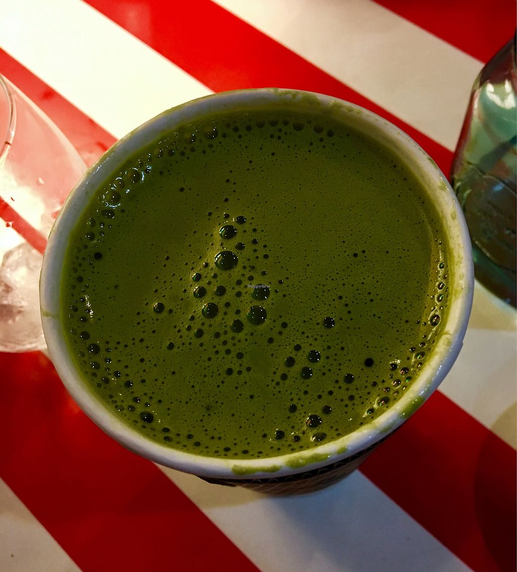 """Photo of The Vegetable Hunter Cafe and Boutique Brewery  by <a href=""""/members/profile/Thepennsyltuckyvegan"""">Thepennsyltuckyvegan</a> <br/>Matcha Green Tea Soy Latte <br/> February 25, 2018  - <a href='/contact/abuse/image/48560/363486'>Report</a>"""