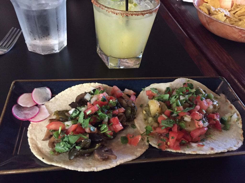 """Photo of El Borracho - Pike Place Market  by <a href=""""/members/profile/cwarrick1"""">cwarrick1</a> <br/>potato & green chili taco, mushroom taco. pineapple jalapeño margarita  <br/> October 22, 2015  - <a href='/contact/abuse/image/48563/122217'>Report</a>"""