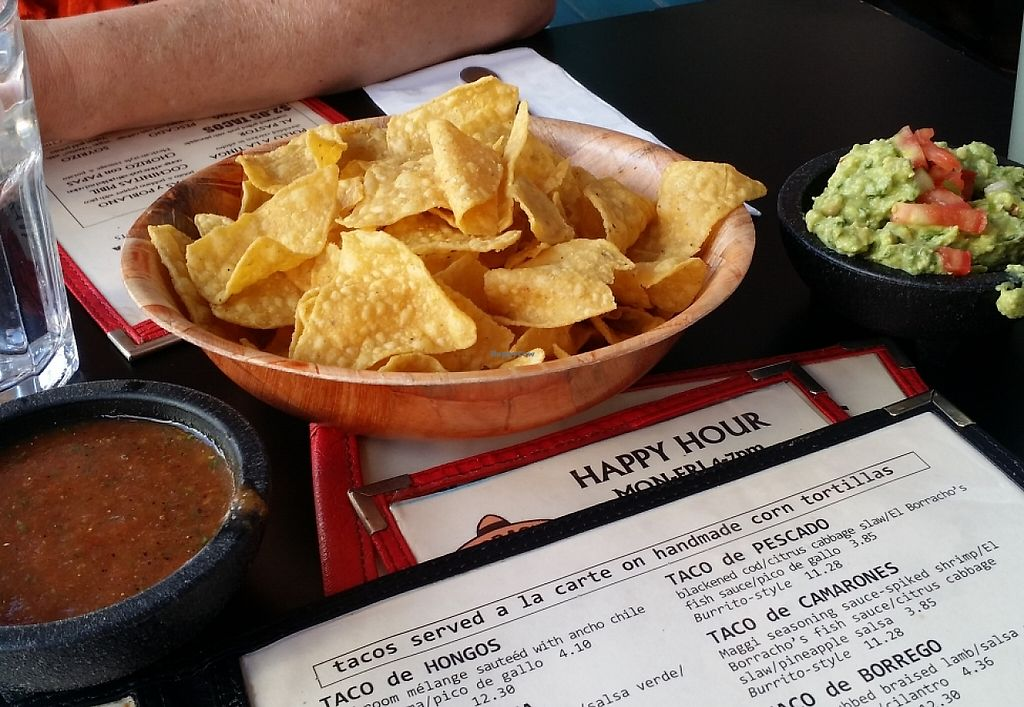 """Photo of El Borracho - Pike Place Market  by <a href=""""/members/profile/The%20Hungry%20Vegan"""">The Hungry Vegan</a> <br/>Guacamole with Chips and Salsa <br/> September 29, 2015  - <a href='/contact/abuse/image/48563/233084'>Report</a>"""