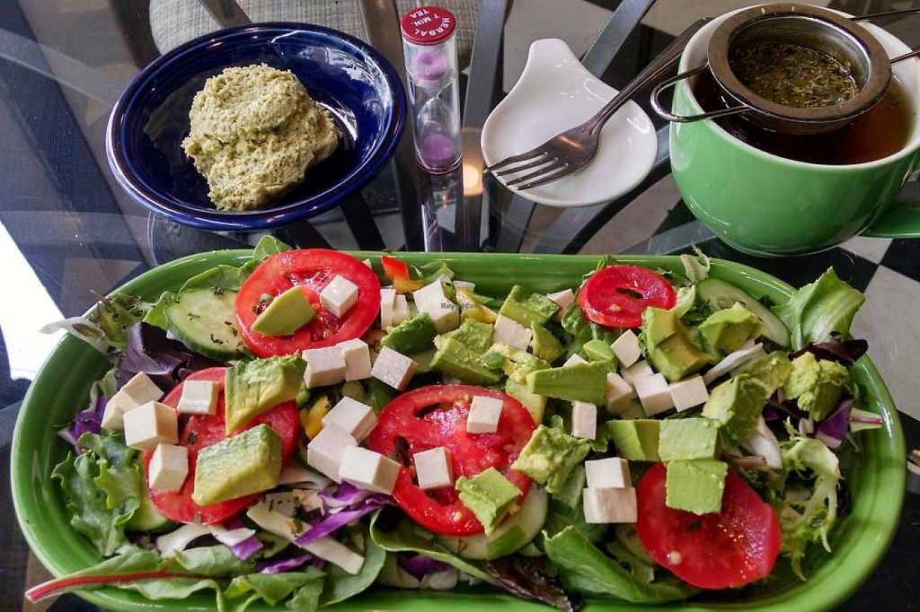Photo of CLOSED: Leaf Teahouse  by nlatnz14 <br/>Owner-Created Salad with Spearmint Tea--Delicious! <br/> July 8, 2015  - <a href='/contact/abuse/image/48591/199702'>Report</a>
