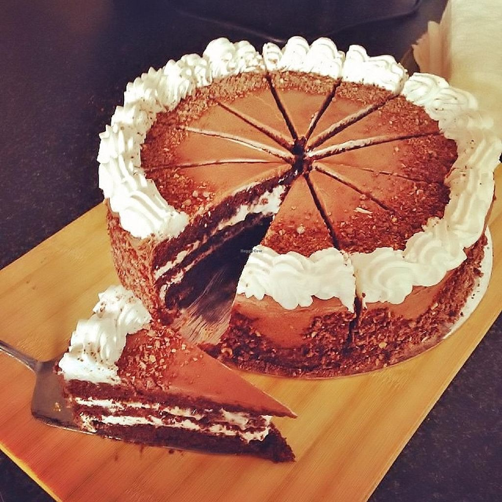 """Photo of Radhey Kitchen and Chai Bar  by <a href=""""/members/profile/verbosity"""">verbosity</a> <br/>Vegan Chocolate and Coconut Gateaux <br/> July 4, 2015  - <a href='/contact/abuse/image/48629/108085'>Report</a>"""