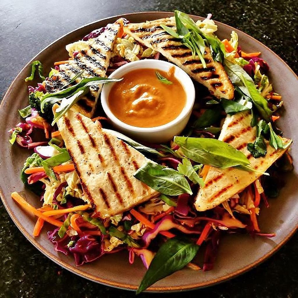 """Photo of Radhey Kitchen and Chai Bar  by <a href=""""/members/profile/verbosity"""">verbosity</a> <br/>Vegan Gado Gado Salad with marinated tofu and Thai basil <br/> July 4, 2015  - <a href='/contact/abuse/image/48629/108086'>Report</a>"""