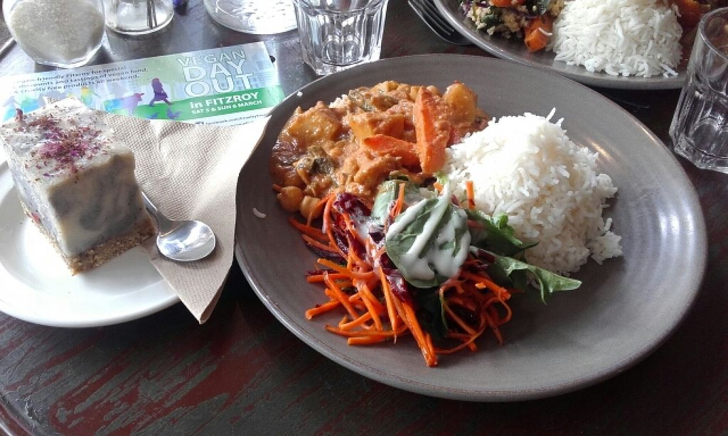 """Photo of Radhey Kitchen and Chai Bar  by <a href=""""/members/profile/IronTheremin666"""">IronTheremin666</a> <br/>$10 Vegan Day Out meal deal plus a cheesecake dessert <br/> March 5, 2016  - <a href='/contact/abuse/image/48629/138946'>Report</a>"""